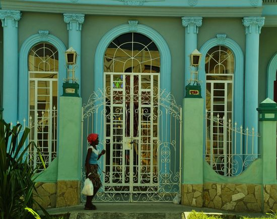 Red dot in front of blue Archtecture Caribian Colorful Cuba People, People,street Red, Santiago De Cuba Street Photography