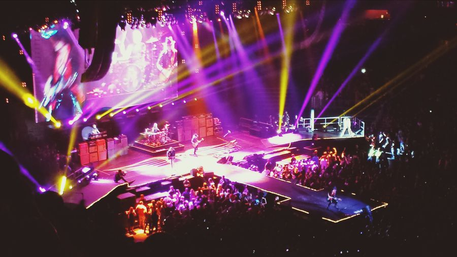 Aerosmith preforming at the Phillips arena in downtown Atlanta.Awesome show!!Steven Tyler is in white to the right of the stage. Check This Out Enjoying Life Rock Concert What Does Music Look Like To You?