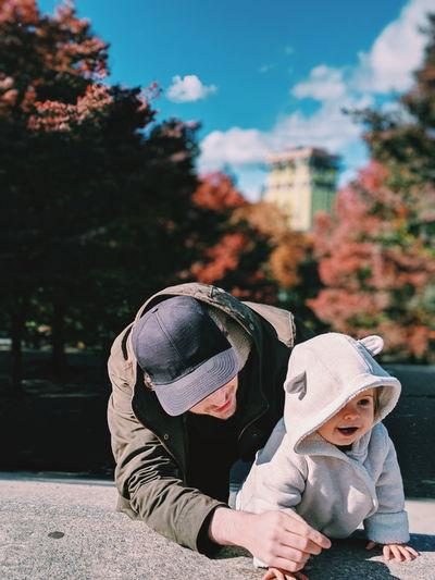 Father and daughter in the park in autumn Brooklyn Chilly NYC Father And Daughter Childhood Child Parenthood Father Fatherhood  Fatherhood Moments Young Father Dad Cool Dad Park Fall Fall Beauty Fall Colors Leaves Blue Sky Bonding Family Cute Baby Baby Girl Infant Headwear Child Autumn Innocence Babyhood