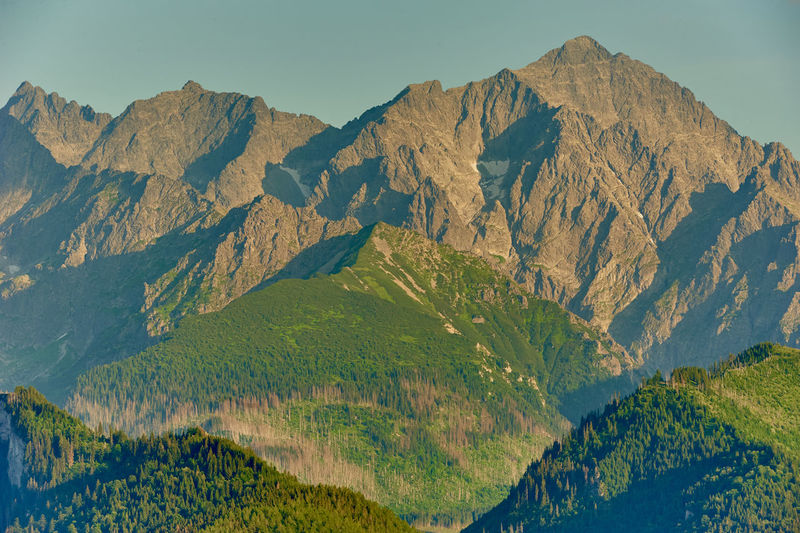 Panoramic view of mountain range against clear sky