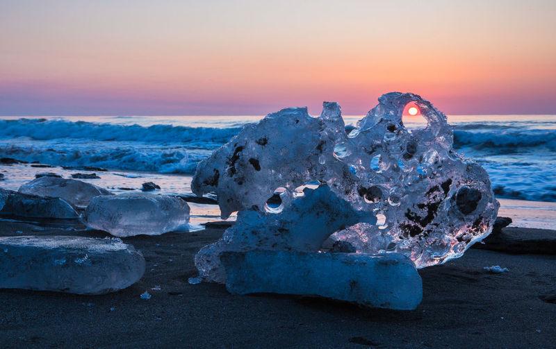 Sky Sunset Sea Water Beauty In Nature Nature Scenics - Nature Tranquility Beach Tranquil Scene Land No People Cold Temperature Frozen Cloud - Sky Solid Ice Winter Rock Outdoors Jewelry Ice Obihiro,Hokkaido,Japan Toyokoro Sunrise Sun