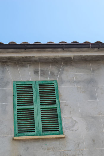 Andratx Architecture Building Exterior Clear Sky Day Green Looking Up Majorca Mallorca No People Old Building  Outdoors Shutter Shutters Sky Window