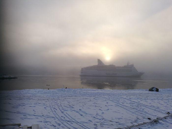 Ferry. Winter