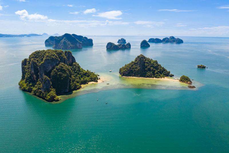 Limestone island on the sea at kra bi thailand aerial view