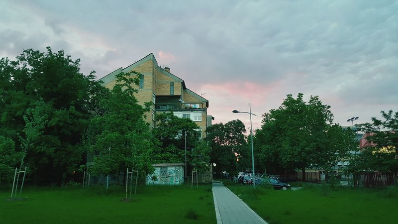 Novo Naselje Novi Sad Building Trees Sky And Clouds Clouds Colourful Red Sky