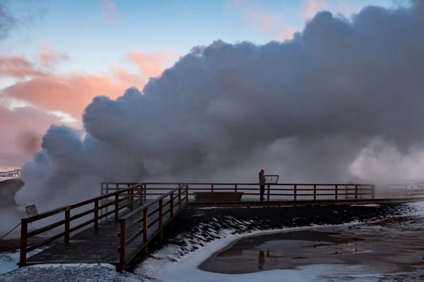 Reykjanes Travel Fujifilm X-pro2 Fujifilm_xseries Fujifilm Eruption Geysir Hot Springs Geysir Iceland Geysir Island Iceland Reykjanes Geopark Reykjanes Steam Hot Source Heisse Quellen Railing Winter Sky Weather Cloud - Sky Snow Cold Temperature Outdoors Nature Day Beauty In Nature Scenics Architecture No People Power In Nature The Traveler - 2018 EyeEm Awards