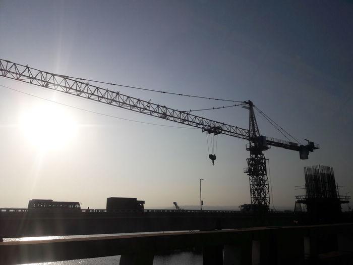 Architecture Crane Bridge View Glare Sun Long Reach On The Bridge
