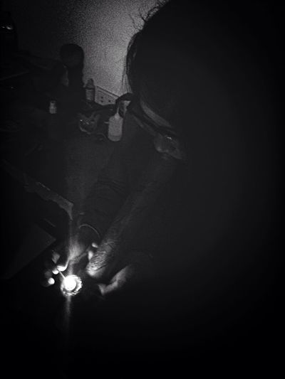 Black And White Smoking Flame Light And Shadow