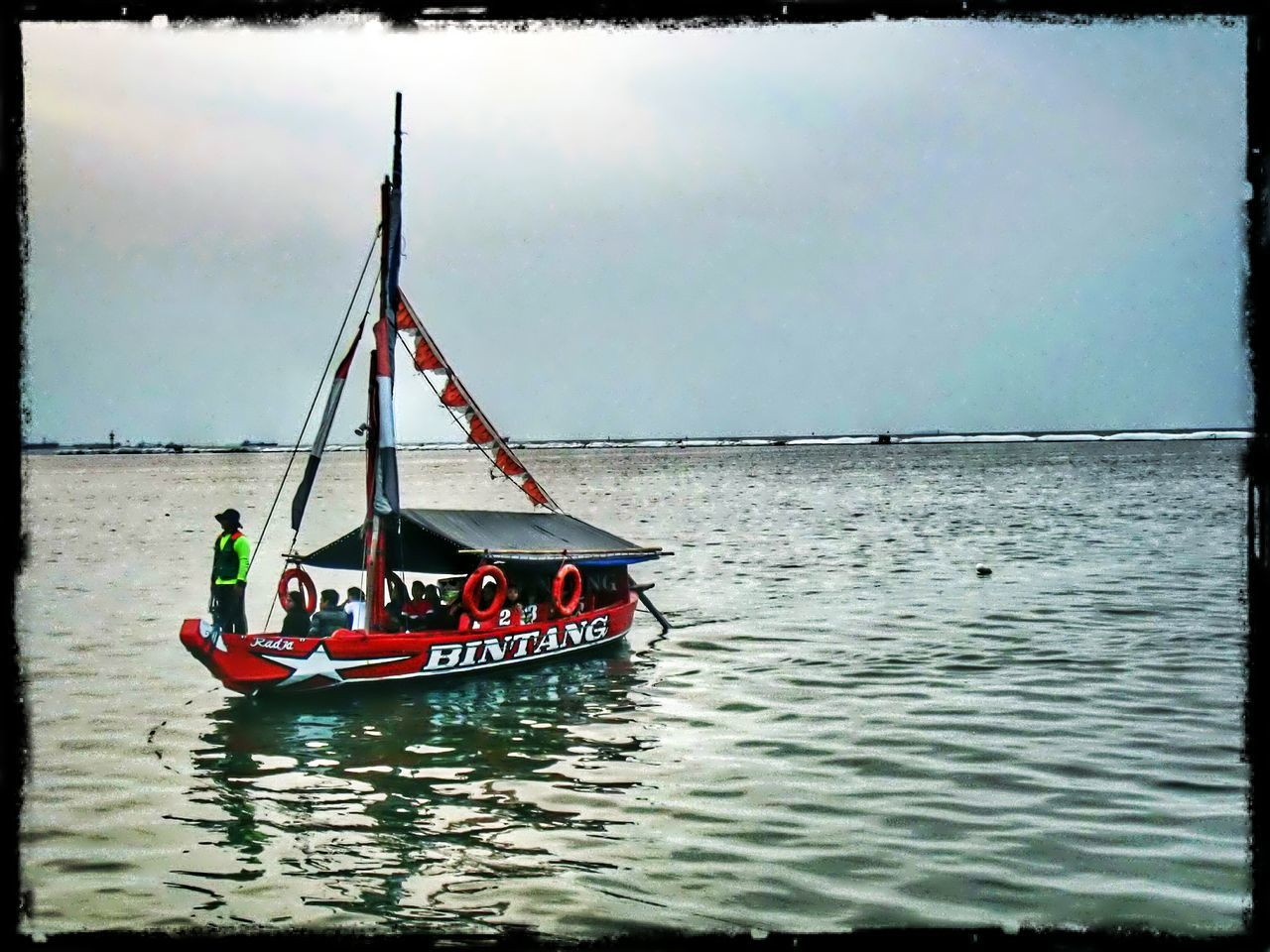 water, transfer print, nautical vessel, boat, transportation, auto post production filter, sea, waterfront, mode of transport, tranquility, moored, sky, nature, tranquil scene, scenics, sailboat, rippled, beauty in nature, horizon over water, sailing