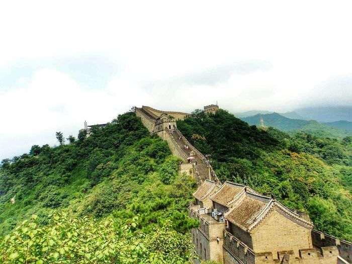 China Great Wall Of China Miles Away Cloud - Sky Sky Tree Nature Green Color Growth No People Day Low Angle View Beauty In Nature Tranquil Scene Architecture Outdoors Scenics