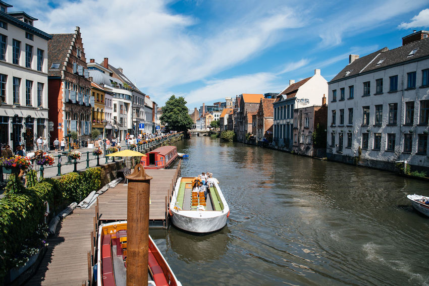 Cityscape of Ghent Architecture Belgium Building Exterior Built Structure Canal City City City Life Cityscape Enjoying Life European  Gent Ghent Gondola - Traditional Boat Historic Landmark Mode Of Transport Moored Nautical Vessel Outdoors River Transportation Travel Travel Destinations Water