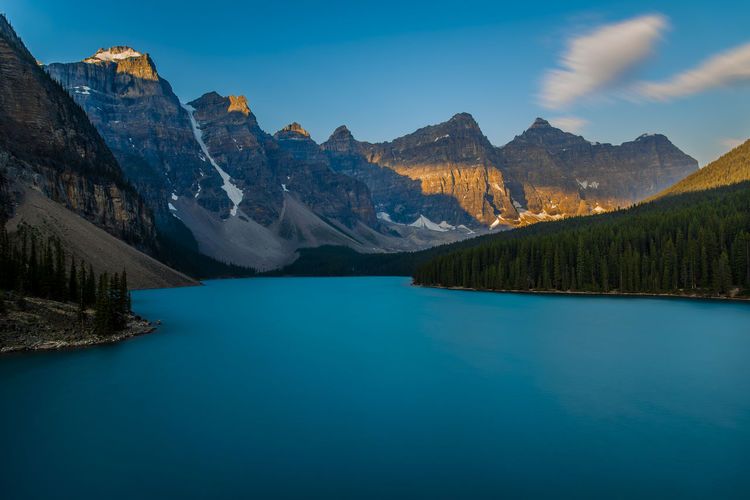 Sunrise over the valley of the Ten Peaks, Moraine Lake, Banff National Park, Canada Banff  Banff National Park  Lakeview Landscape_Collection Moraine Lake  Sunrise_Collection Beauty In Nature Blue Water Canada Golden Light Lake Lakes  Landscape Mountain Mountain Range Mountains Nature Rockies Rocky Mountains Scenics Sky Sunrise Sunrise_sunsets_aroundworld Tranquility Water