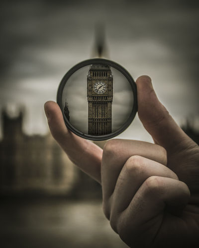 Through the looking glass Big Ben London Architecture Body Part Building Exterior Built Structure Close-up Day Finger Focus On Foreground Hand Holding Human Body Part Human Finger Human Hand Lifestyles One Person Outdoors Real People Sky Unrecognizable Person