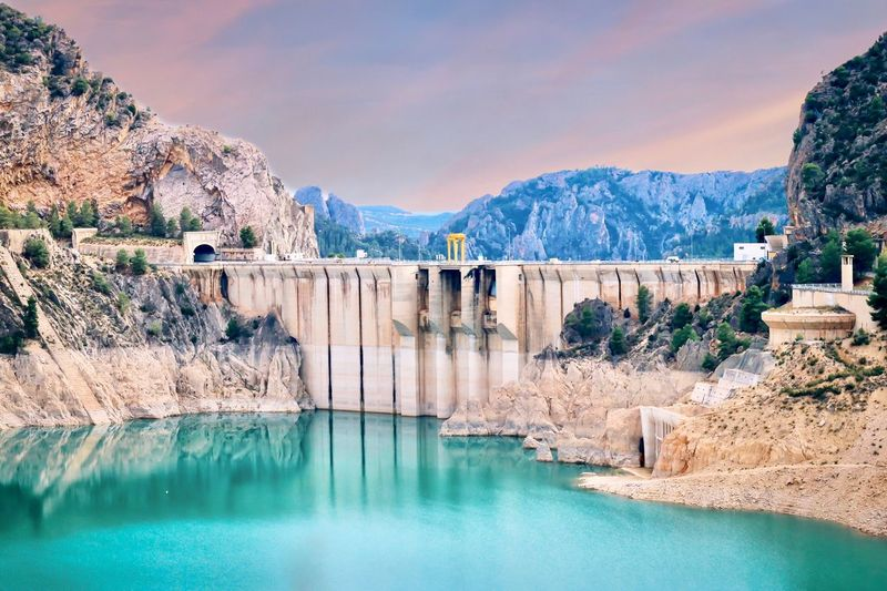 Dam in Spain SPAIN Travel Travel Photography Travel Destinations Water Mountain Nature Sky Scenics - Nature Architecture Beauty In Nature Built Structure Cloud - Sky Hydroelectric Power Mountain Range Fuel And Power Generation Tranquility Travel Destinations Outdoors