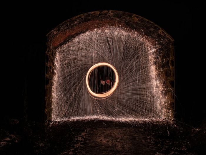 Night Long Exposure Illuminated Wire Wool Motion Geometric Shape Blurred Motion Circle Glowing Light Painting Spinning Shape No People Studio Shot Black Background Indoors  Sign Burning Front View Dark Sparks My Best Photo