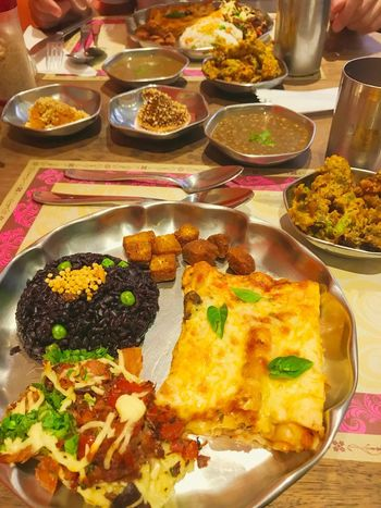Indian food Black Rice Indian Food Food And Drink Food Ready-to-eat Table Indoors  Plate Meat Meal Serving Size Freshness Healthy Eating