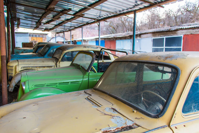Abandoned Armenia Bright Colors Car Classic Cold Temperature Colorful Day Detail Junk Cars Junk Yard No People Nostalgia Nostalgic  Old Car Oldtimer Rustic Transportation Travel Winter