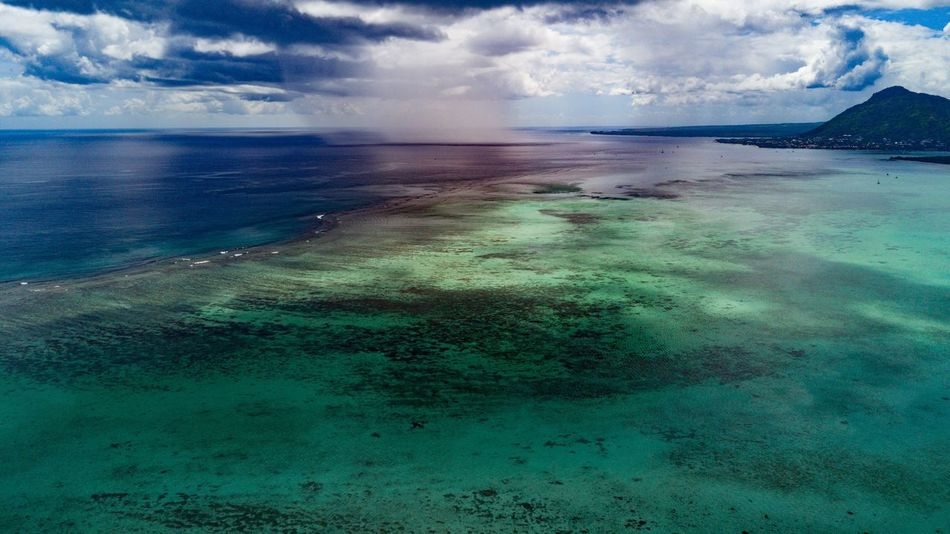 Beauty In Nature Nature Scenics Sky Cloud - Sky Water Tranquility Outdoors Sea Tranquil Scene No People Landscape Mountain Horizon Over Water Dronephotography Dronestagram Hot Spring Mauritius Paradise Vacations DJI Mavic Pro Dji Aerial View Aerial Shot