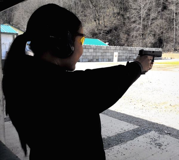 Jenn shooting the Glock 17 Target Shooting Glock17 Pistol Having Fun Concentration Is The Key Confident Women 9 Mm