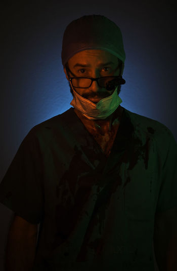 Surgeon Vivid Colours  Costume Front View Halloween Headwear Looking At Camera One Person Portrait Standing Studio Shot