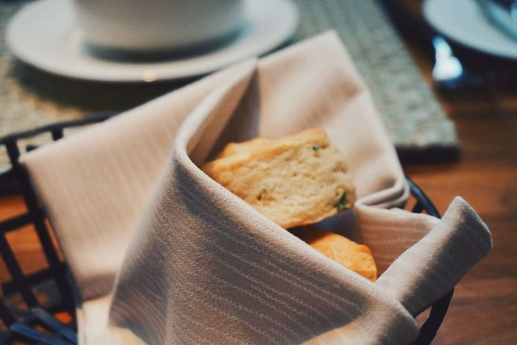 Close-Up Of Toasted Breads In Napkin
