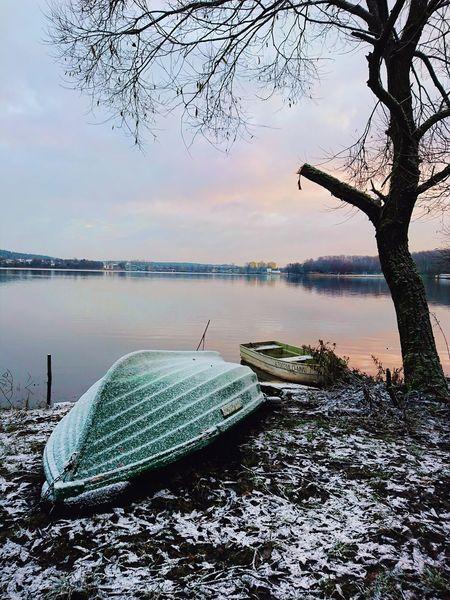 Lake. Winter. Winter Snow Lake Polska Poland Warmia Masuria Ukiel Water Tree Sea Beach Sky Horizon Over Water Landscape Fishing Industry Fishing Boat EyeEmNewHere
