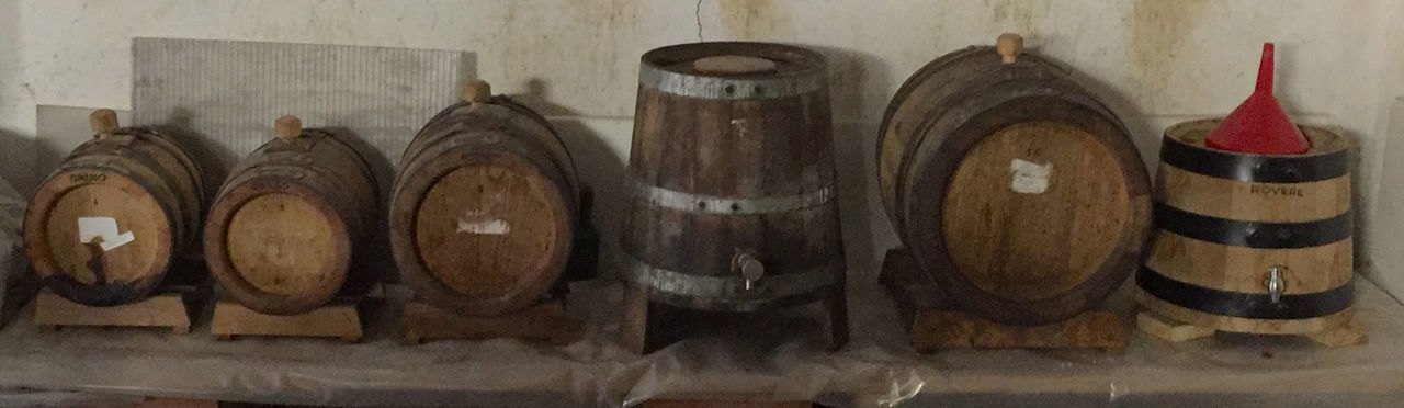 "My own ""Aceto Balsamico"" barrel set Acetaia Acetobalsamico Barrel Boiled Must Made Different Woods Barrel Indoors  Long Time Ageing No People Traditional"