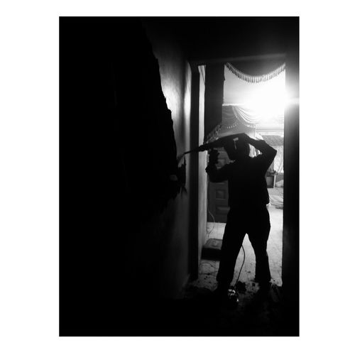 One Person Full Length Adult People Indoors  Standing Men One Man Only Home Improvement Adults Only Domestic Room Occupation Real People MyDay Mobilephotography Egyptpresent Only Men Day P8lite Blackandwhite