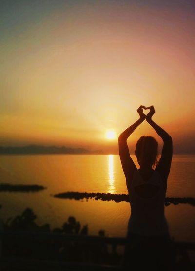 Love Girl Sunset Sun Sea Sky Heart The Essence Of Summer The Essence Of Summer- 2016 EyeEm Awards