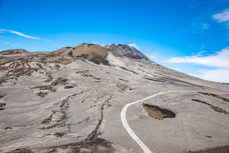 Etna Volcano Crater Mountain Winter Snow Sicily Italy Ash Sky Scenics - Nature Beauty In Nature Tranquil Scene Non-urban Scene Day Landscape Environment Tranquility Blue Nature No People Transportation Road Cloud - Sky Mountain Range Idyllic Outdoors Remote Arid Climate Climate