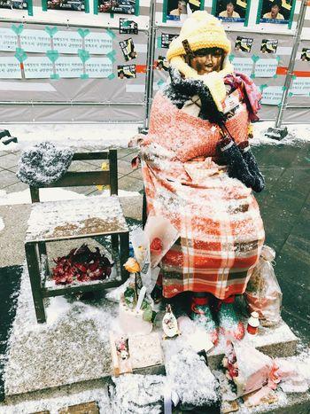 Statue Of Peace Remember Today Snow Very Sad Korea History Korea