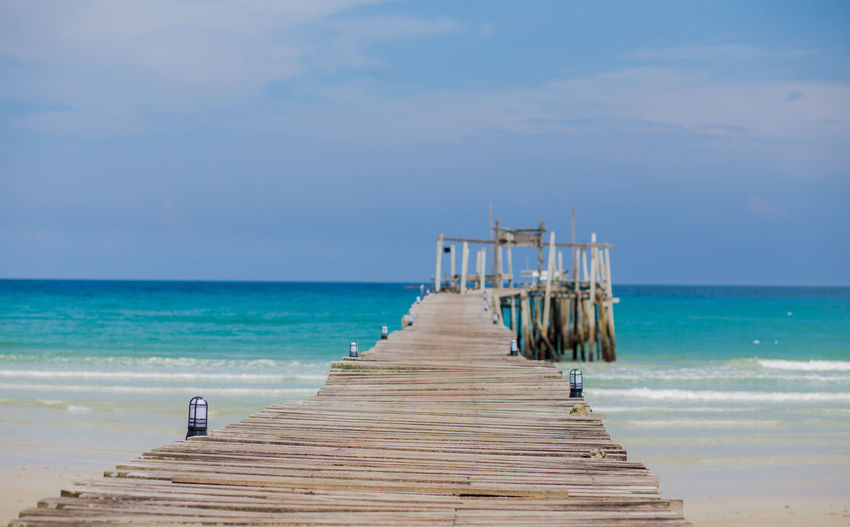 Summer nature scene. tropical beach with sea blue sky and white sand kood island in east of thailand