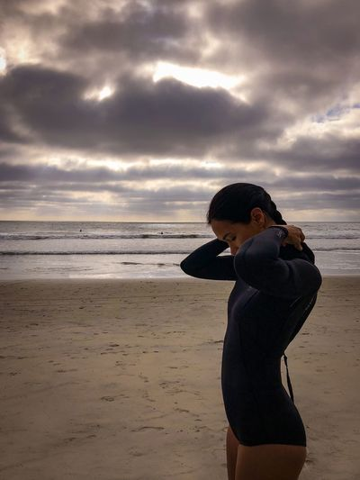 The wifey getting ready to paddle out at Beacons Beach in Leucadia, San Diego, California Surfer Surf Coast California SoCal San Diego Nature Photography Travel Destinations Beach Beach Land Sea One Person Cloud - Sky Water Sky Side View Horizon Over Water Leisure Activity Horizon Standing Real People Beauty In Nature Women Three Quarter Length Nature Outdoors
