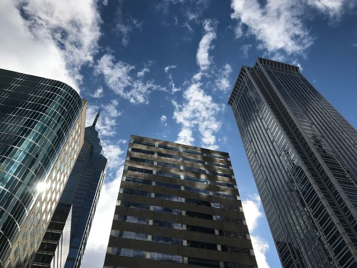 Architecture Built Structure Low Angle View Building Exterior Sky Building City Reflection Day Tower Outdoors Nature No People Office Cloud - Sky Skyscraper Modern Office Building Exterior Tall - High Financial District