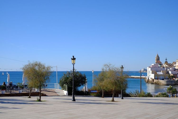 TOWNSCAPE Town Sea And Sky Sea Mediterranean  Mediterranean Sea Streetphotography Street Photography Lamp Post Lamppost España SPAIN Sitges