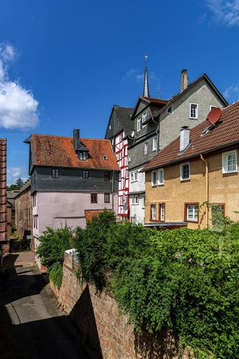 Architecture Building Exterior Built Structure Building Sky Residential District Plant House Nature No People Tree Window Blue Day Sunlight City Outdoors Cloud - Sky Low Angle View Old Engtstehende Häuser Am Hang Häuser Marburg Oberstadt Kleine Häuschen