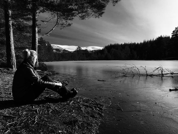 One Person Lake Nature Sitting Outdoors Water Tranquility