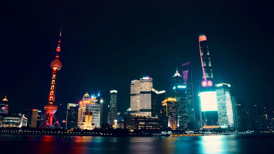 Shanghai, China Colorful Nightphotography Black And White Nightlights Skyscraper Urban Skyline Architecture Cityscape Travel Destinations Downtown District Office Building Exterior Building Exterior Travel City Modern Built Structure Night Water Illuminated No People Sky Outdoors