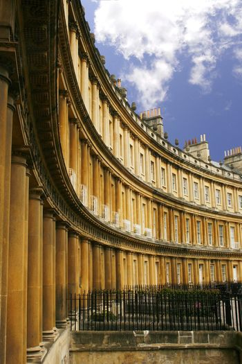 The beauty of historical workmanship in Bath England UK Architecture Bath England Building Exterior City Columns Crescent Day English Architecture Houses No People Outdoors Period Architecture Sky Travel Destinations Workmanship