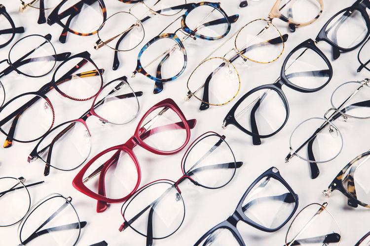 Full frame shot of eyeglasses on table