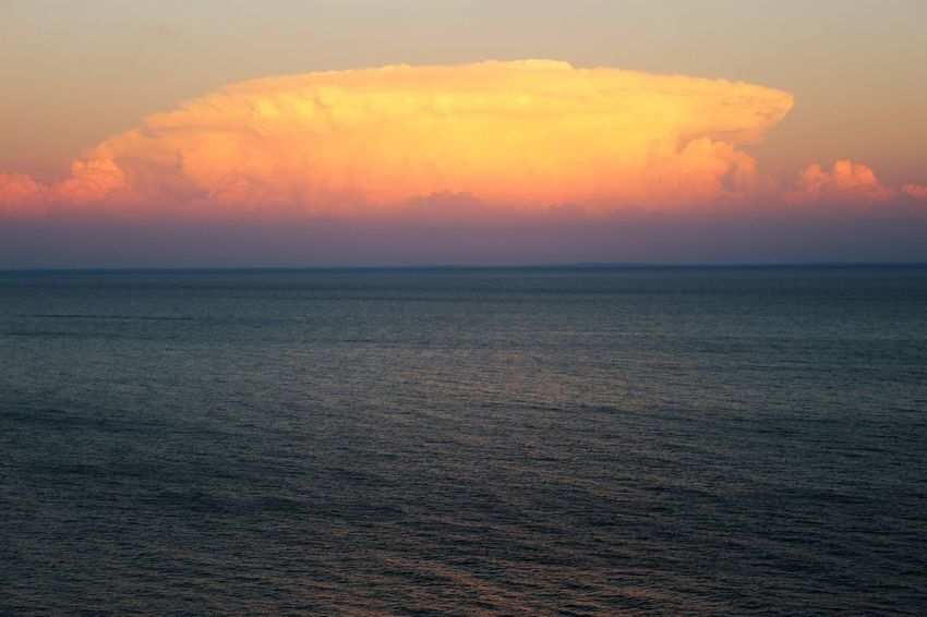 Lake Superior Beauty In Nature Cloud - Sky Environment Horizon Horizon Over Water Idyllic Nature No People Orange Color Outdoors Scenics - Nature Sea Seascape Sky Sunset Tranquil Scene Tranquility Water