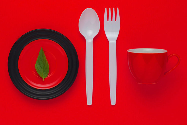 Over dieting Ceramic Ware Cup Dietfood Dieting Dish Fork Make Over No People Red Spoon Still Life Unhealthy Eating Unhealthy Lifestyle Vegetables Vegetarian Vegetarian Lifestyle  Vivid Colours  Weight Loss Weight Loss Foods Weightloss Lieblingsteil