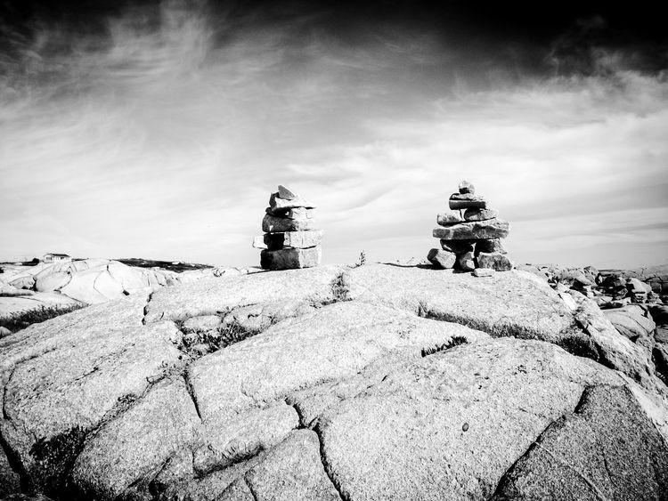 Inukshuk Sky Outdoors No People Day Nature Sculpture Architecture Inukshuk Inuksuk Inuit Landmark Canada Nova Scotia Blackandwhite Black And White Black&white Black And White Photography Blackandwhite Photography Welcome To Black