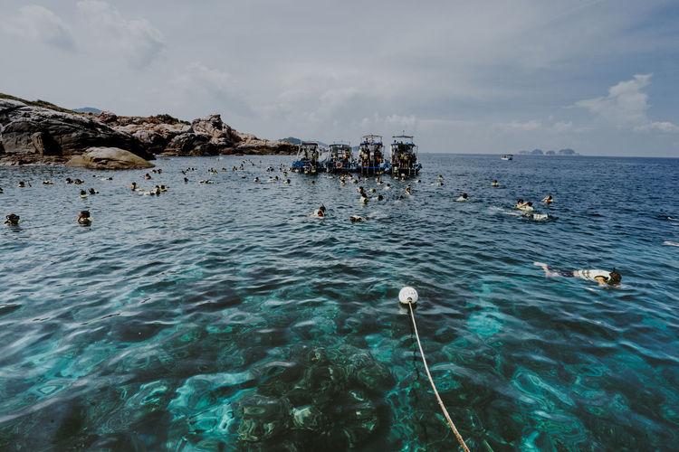 View of people scuba diving at pulau redang, terengganu