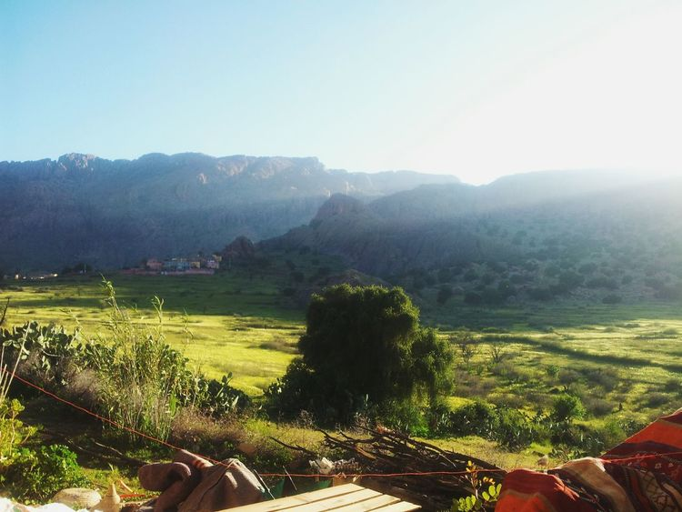 Morocco Landscape Montain  Greenery Blue Sky Light Tafraout Idaougnidif