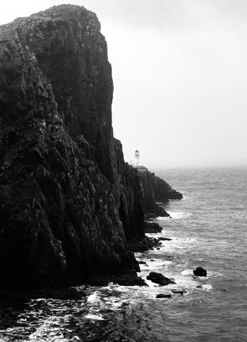 Rugged Wilderness Landscape Nature Sky Scotland Outdoors No People Day Cloud - Sky Water Scenery Beauty In Nature Mountain Blackandwhite Scenics Lighthouse Uig Travel Destinations