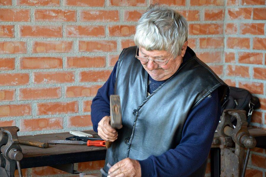 Blacksmith  Craftsman Front View Hammer Man Oldman Person Portrait Standing Waist Up