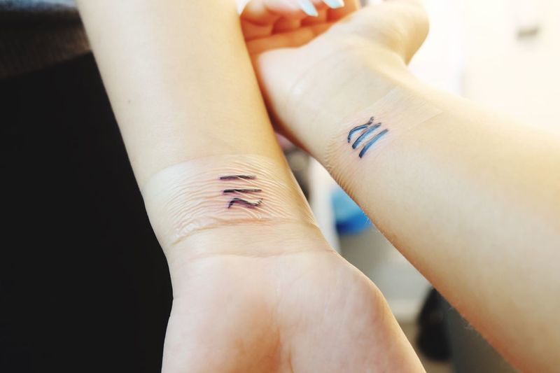 """""""Different yet the same"""" - forever connected to my soulmate ❤️ EyeEmNewHere Classic Tattoo Duitsland Germany Berlijn Berlin Ink Forever Soulmate Same  Different Tattoo Human Hand Healthcare And Medicine Indoors  Adult People"""