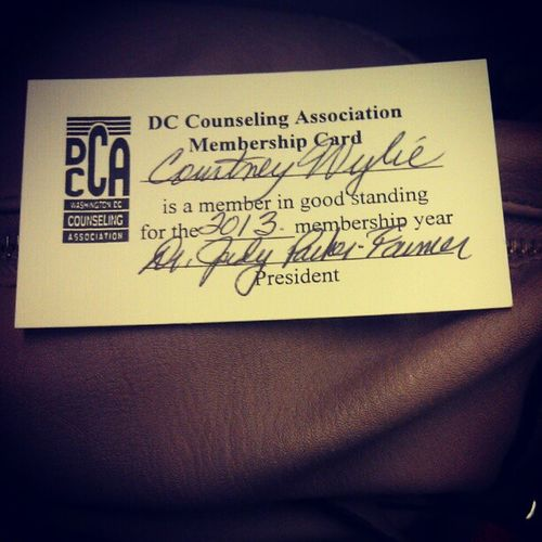 Today I attended a meet and greet hosted by the District of Columbia Counseling Association and had a great time networking, meeting new people and just seeing how I can become more involved in the field. And afterwards I became a member of the DC Counseling Association!!! DistrictOfColumbiaCounselingAssociation DCCounselingAssociation DCCA MeetAndGreet MembersOnly