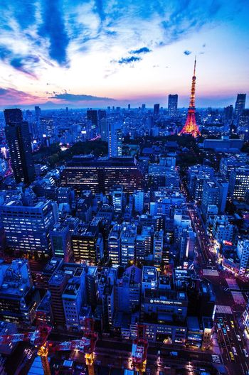 Cityscape Architecture Building Exterior Skyscraper City Tall - High Tower Sky Modern Urban Skyline Travel Destinations Built Structure Illuminated Aerial View High Angle View Cloud - Sky City Life No People Outdoors Day Tokyo Tower Tokyo Japan The Week On EyeEm